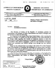 Հրապարակվել է հունգարական կողմին ուղղված Ադրբեջանի պաշտոնական նամակը