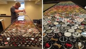 Տղան 2,530 գարեջրի  կափարիչ է հավաքել իր երազանքի սեղանն ունենալու համար (ֆոտոշարք)