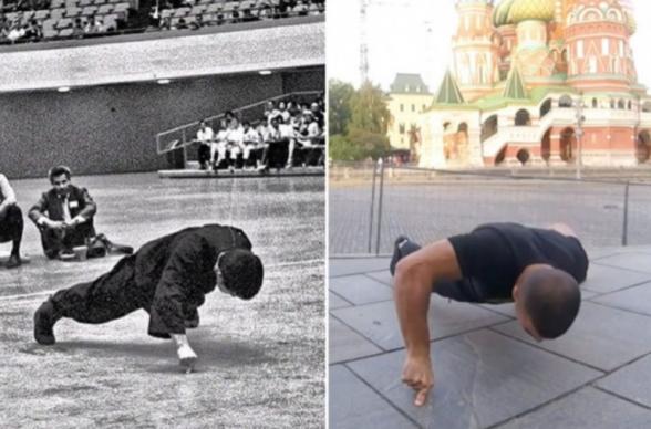 Ինչպես Բրյուս Լին. հայ մարզիկը Կրեմլի պատերի մոտ ռեկորդ է սահմանել՝ երկու մատների վրա հրում վարժություն կատարելով
