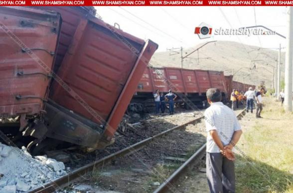 Հրազդանում գնացքի՝ հանքանյութով բեռնված 9 վագոն դուրս է եկել երկաթգծից և թեքվել