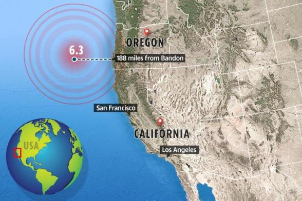 У западного побережья США произошло землетрясение магнитудой 6,3