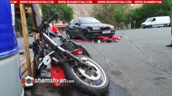Երևանում բախվել են մոտոցիկլն ու BMW-ն. մոտոցիկլը կողաշրջվել է. կա վիրավոր