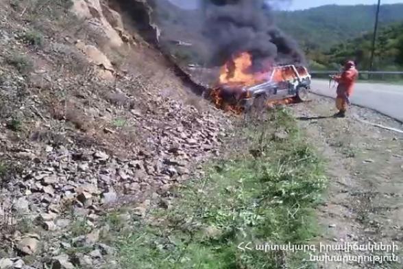 ՃՏՊ Ճամբարակ-Այգուտ ավտոճանապարհին․ այրվել է ավտոմեքենա
