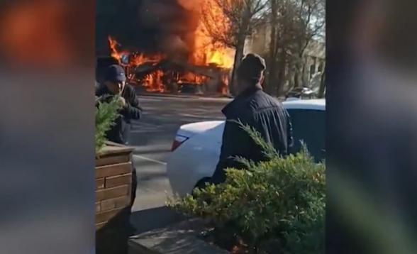 Момент взрыва в бишкекском кафе попал на видео