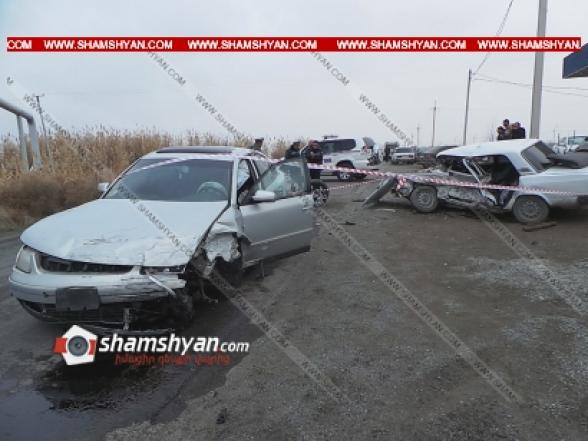 Արմավիրի մարզում բախվել են Volkswagen-ն ու ВАЗ 2107-ը. կա 1 զոհ, 2 վիրավոր