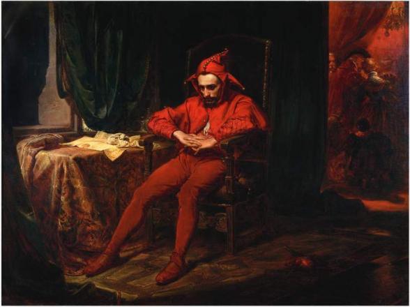 Օ՜, որքան խեղճ է ծաղրածուն՝ թիկնած արքայի գահին