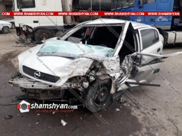 Արարատի մարզում բախվել են 06-ը, Opel-ն ու DAF բեռնատարը. կա վիրավոր