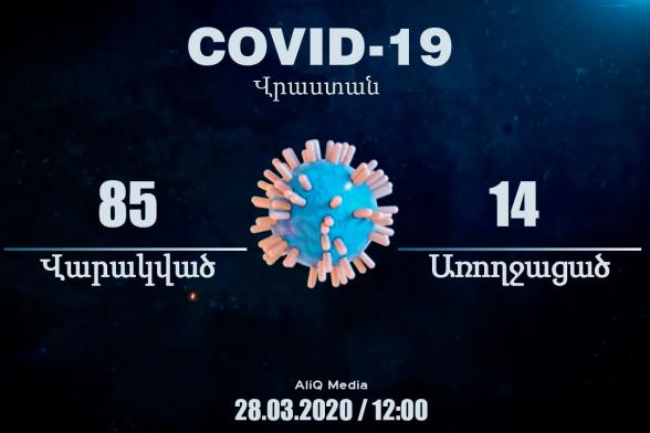 85 վարակված, 14 առողջացած. Կորոնավիրուսը Վրաստանում մարտի 28-ի դրությամբ. aliq.ge