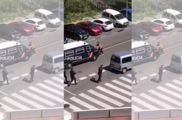 Մադրիդում սրերով զինված կիսամերկ տղամարդը հարձակվել է ոստիկանության աշխատակիցների վրա՝ պնդելով, թե վարակված է կորոնավիրուսով. РИА Новости