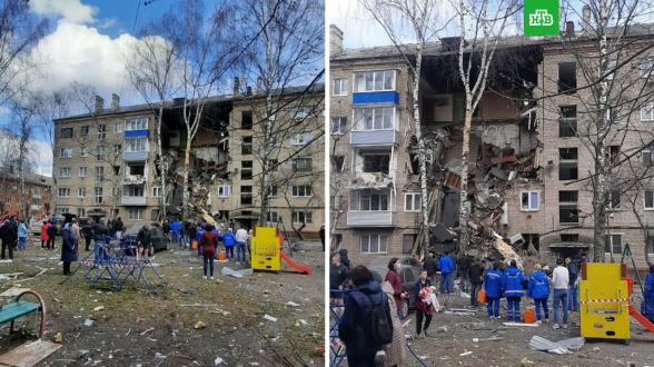 В Подмосковье в результате взрыва газа обрушился подъезд жилой пятиэтажки (видео)