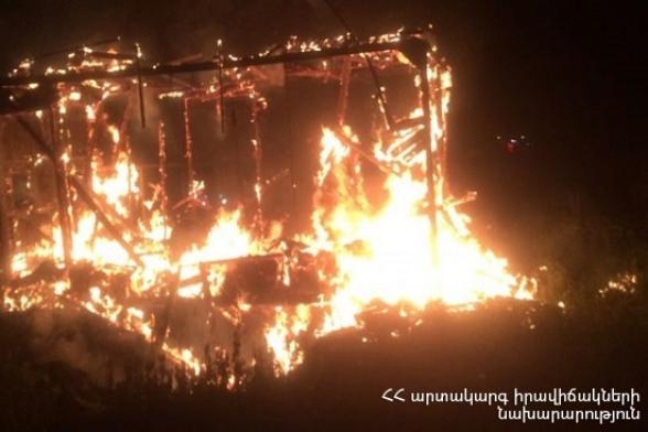 Ջրառատ թաղամասում այրվել է փայտյա տնակ