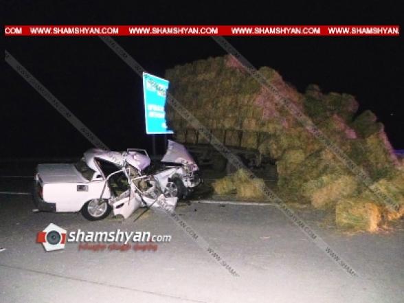Արարատի մարզում 40-ամյա վարորդը 07-ով մխրճվել է խոտով բարձված տրակտորի կցորդիչի մեջ․ կա վիրավոր
