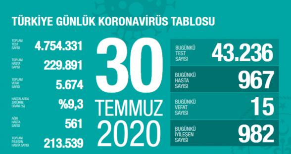 Թուրքիայում 1 օրում Covid-19-ից 15 մարդ է մահացել