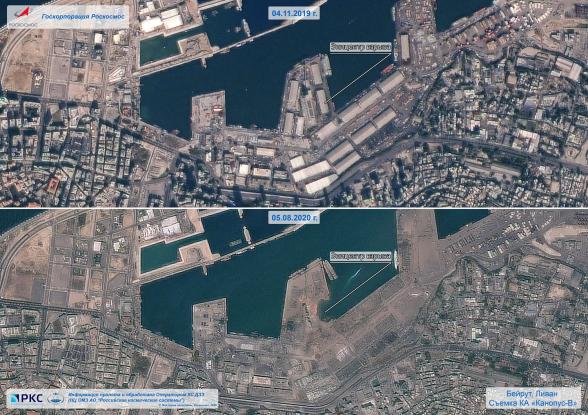 Российский спутник зафиксировал последствия взрыва в порту Бейрута (фото)