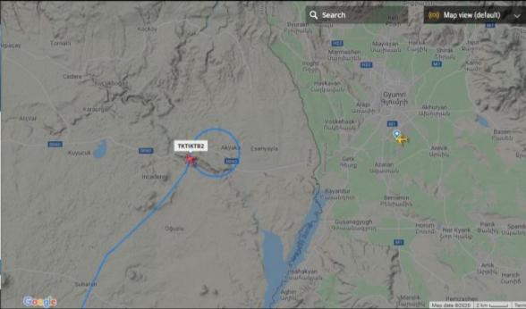 Թուրքական Bayraktar TB-2 մարտական անօդաչուն շրջում է Գյումրիի Շիրակի օդանավակայանի մերձակայքում