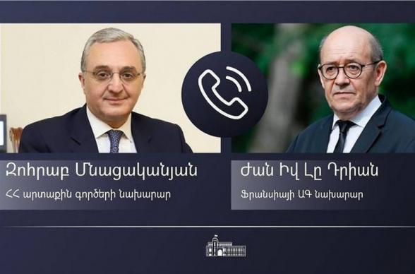 Զոհրաբ Մնացականյանը հեռախոսազրույց է ունեցել Ֆրանսիայի ԱԳ նախարար Ժան-Իվ Լը Դրիանի հետ. ԱԳ նախարարները մտքեր են փոխանակել Ժնևում հանդիպում անցկացնելու պայմանավորվածության շուրջ