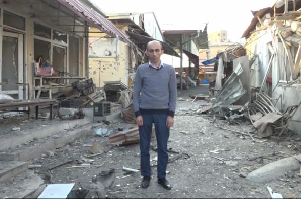 Արտակ Բեգլարյանն ուղերձ է հրապարակել այսօր առավոտյան ադրբեջանական զինված ուժերի կողմից ռմբակոծված Ստեփանակերտի կենտրոնական շուկայից (տեսանյութ)