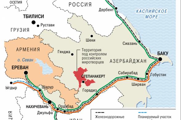Ռուսական «Կոմերսանտը» հրապարակել է տրանսպորտային միջանցքների և երկաթուղու քարտեզը, որոնց շուրջ համաձայնության են եկել Հայաստանը, Ռուսաստանն ու Ադրբեջանը
