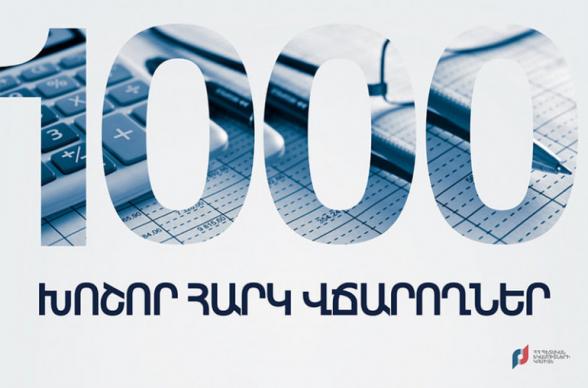 1000 խոշոր հարկ վճարողները հունվար-դեկտեմբեր ամիսներին վճարել են ավելի քան 987 մլրդ 637 մլն դրամ․ ՊԵԿ