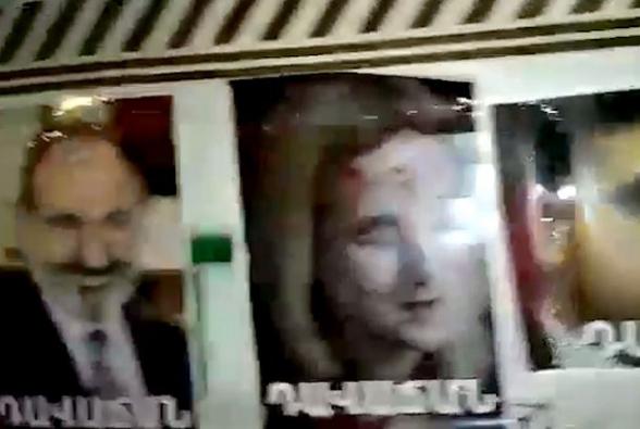 На центральной улице Еревана развесили портреты предателей (видео)