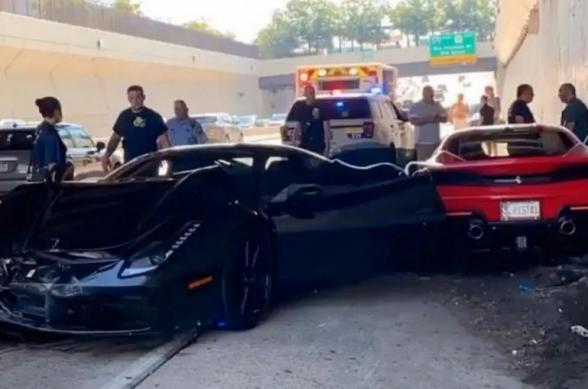 «Թանկարժեք ՃՏՊ». ԱՄՆ-ում 280 000 դոլար արժողությամբ Ferrari-ին բախվել է 2 այլ Ferrari-ների