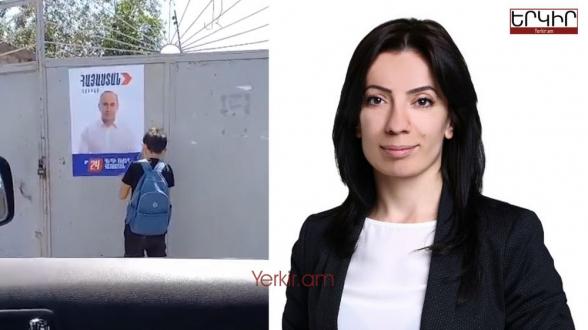 Նիկոլական Ք․ Պողոսյանը սեփական երեխաներին ստիպում է պոկել «Հայաստան»-ի պաստառները (տեսանյութ)
