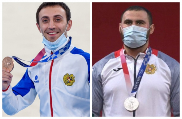 Призеров Олимпиады в Токио Симона Мартиросяна и Артура Давтяна встретили в «Звартноце»