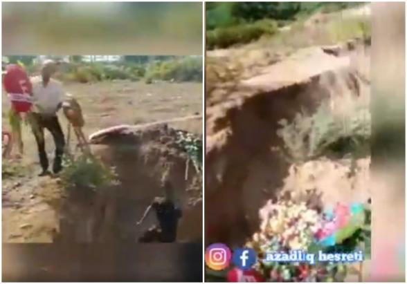 Ադրբեջանցի պաշտոնյան քանդել է իրենց «զոհերի» գերեզմանները և Թուրքիայի և Ադրբեջանի դրոշները նետել աղբարկղը