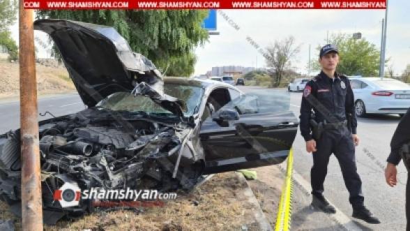 Վահագնի թաղամասի դիմաց 41-ամյա վարորդը Ford Mustang-ով տապալել է բաժանարար գոտում տեղադրված էլեկտրասյունը, կա վիրավոր