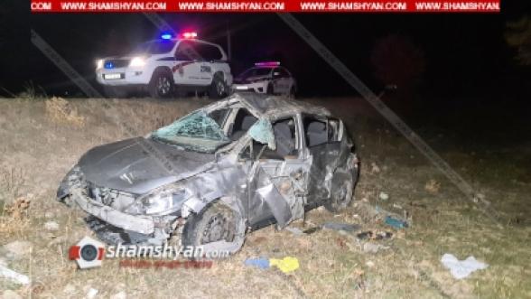 Կոտայքի մարզում Nissan Tiida-ն, մի քանի մետր գլխիվայր շրջվելով, հայտնվել է ձորակում. կա 1 զոհ, 1 վիրավոր