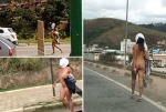 В Бразилии голая женщина прошлась по улицам (18+)